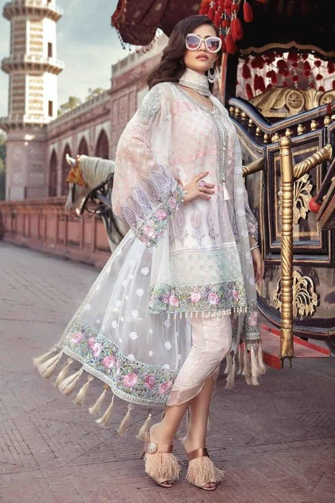 MARIAB MARIA.B. Unstitched MBROIDERED – Pearl White & Pastel (BD-1303) Chiffon Dupatta Salwar Suit