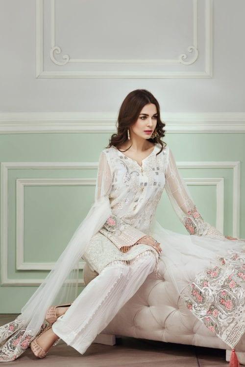 Jazmin Daisy Trellis Pakistani Suits & Dresses - Unstitched Dress Material Chiffon Dupatta Salwar Suit