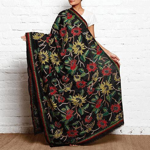 Kantha embroidered dupatta