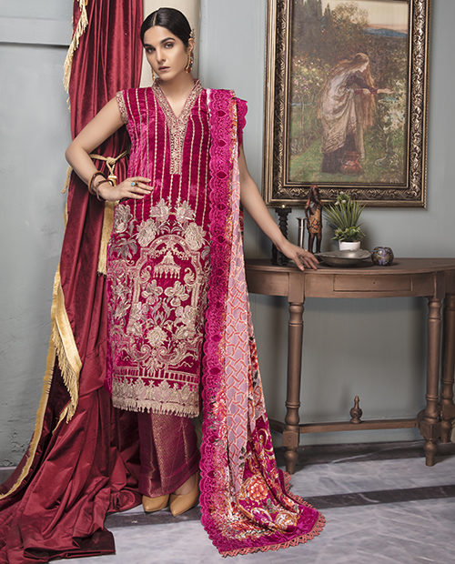 *Hot on Sale* Shaista Velvet – V-12 best pakistani suits collection