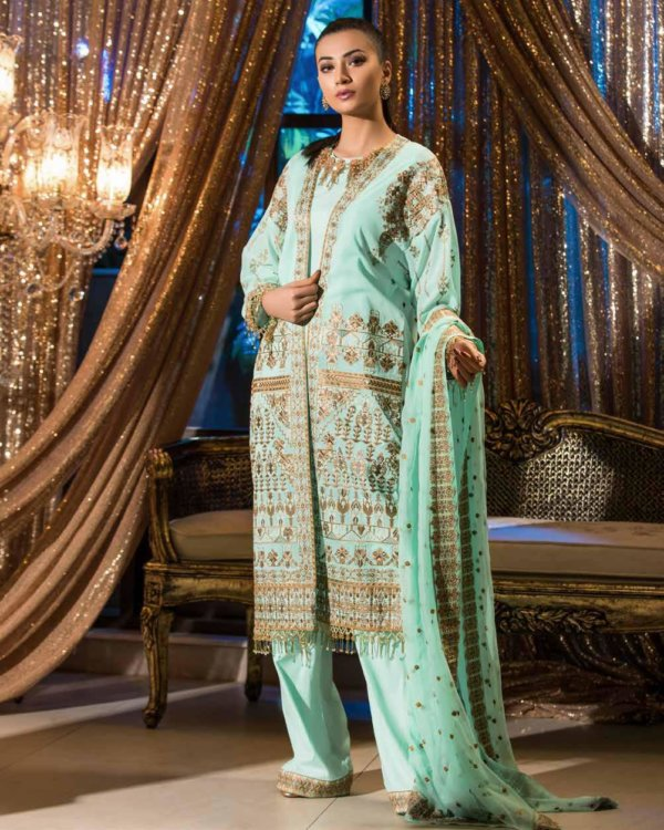 Johra Gold Swiss Voil Embroidered Collection Lawn - Reloaded Chiffon Dupatta Salwar Suit