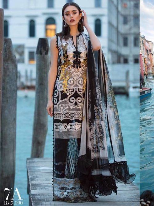 Sana Safinaz Sana Safinaz Luxury Lawn'19 7A  – RESTOCKED Chiffon Dupatta Salwar Suit
