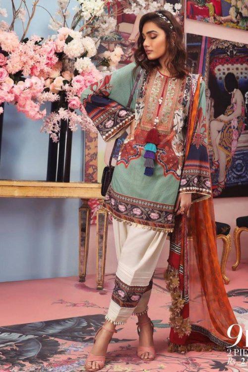 Sana Safinaz Sana Safinaz Muzlin Vol 2 – 2019- 9B Chiffon Dupatta Salwar Suit