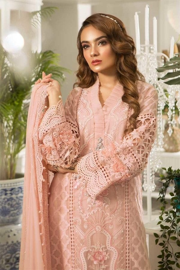 MARIA.B. Eid Unstitched MBROIDERED – Peachy Pink (BD-1602) RESTOCKED