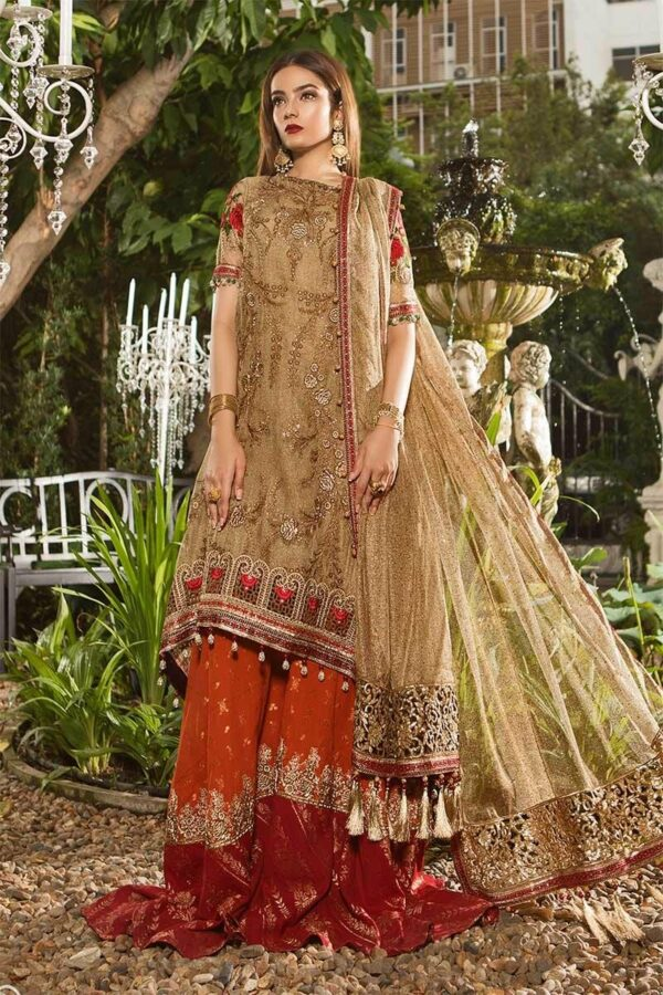 MARIA.B. Eid Unstitched MBROIDERED – Glittery Gold & Maroon (BD-1606) RESTOCKED