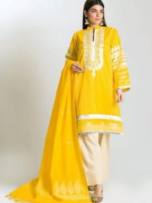 Khaadi Festive Eid 2019 HLB19108-Yellow-3Pc HOT