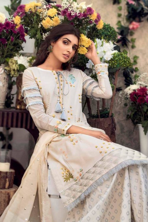Gul Ahmed Eid Botanical Floral Collection 2019 FE187 Gul Ahmed Eid Collection 2019 - Original best pakistani suits collection