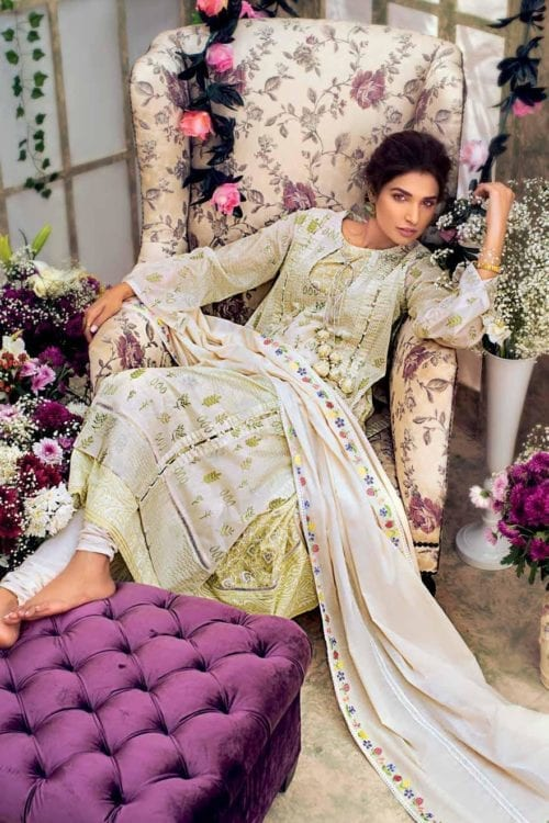Gul Ahmed Eid Botanical Floral Collection 2019 FE185 Gul Ahmed Eid Collection 2019 - Original Gul Ahmed