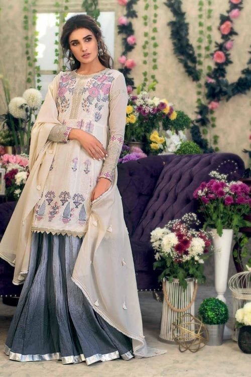 Gul Ahmed Eid Botanical Floral Collection 2019 FE182 Gul Ahmed Eid Collection 2019 - Original best pakistani suits collection