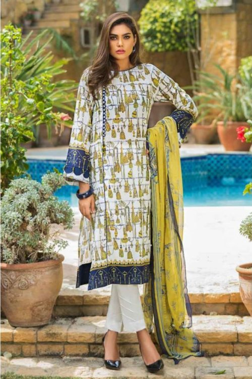 GulAhmed Mal Mal Collection 3 PC Lawn Suit  BM-124 – HOT Gul Ahmed best pakistani suits collection