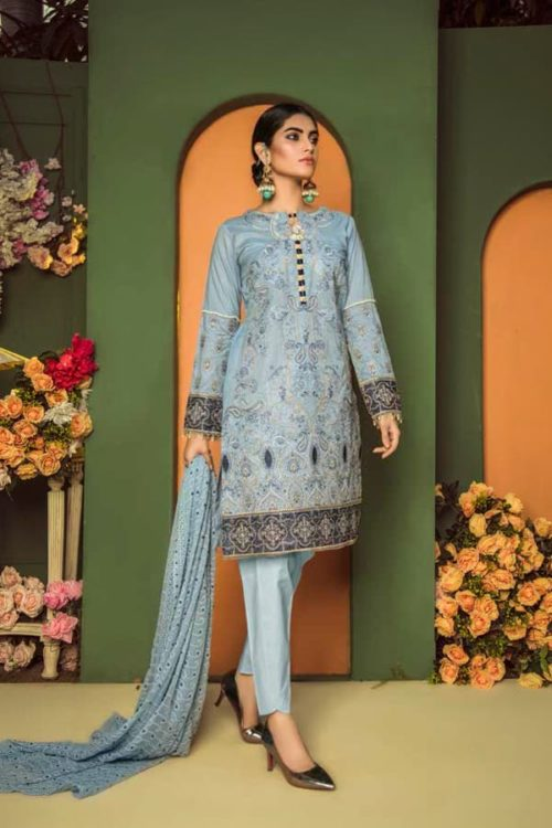 Aurelia by Adan Libas CADET BLUE – EMBROIDERED LAWN UNSTITCHED