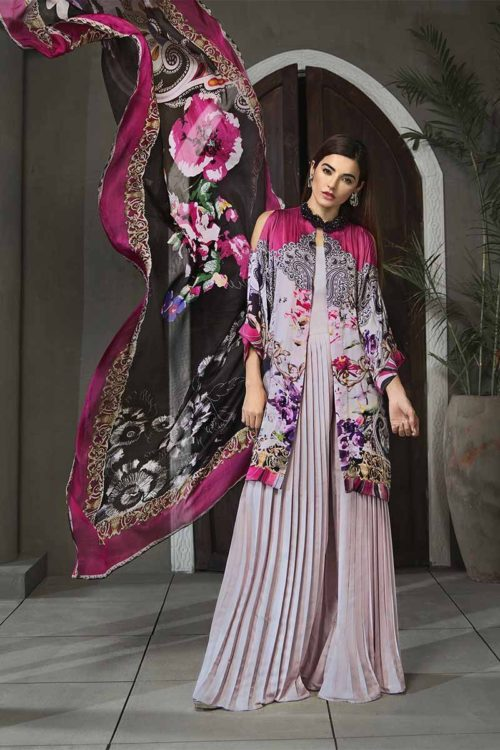 Gul Ahmed Gul Ahmed Lamis Digital Charmeuse Silk Collection 2018 – Ash Grey Paisley Plush DGT-80 best pakistani suits collection