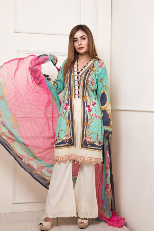 *Hot on Sale* Rang Rez Designer Lawn HOT Chiffon Dupatta Salwar Suit