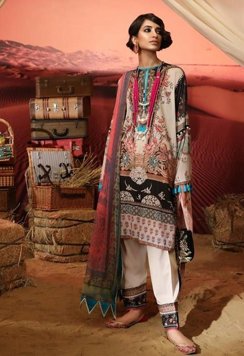 *On Sale* Mahay ' 19 Unstitched Collection by Sana Safinaz 10A RESTOCKED Chiffon Dupatta Salwar Suit
