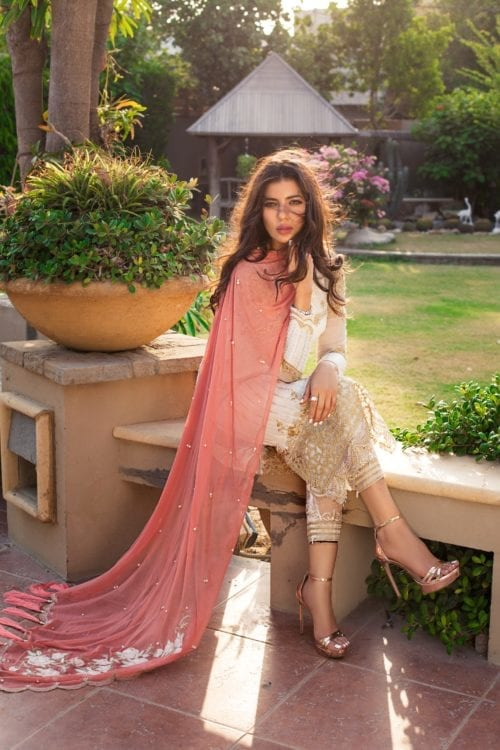 Rozina Munib's Festive Chiffon RM-5 White Color Salwar Kameez