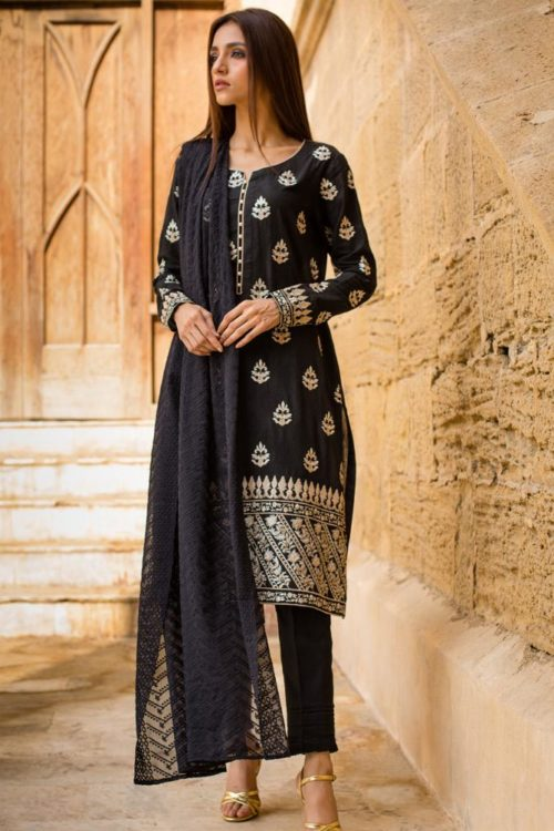 Black & White Embroidered Lawn Salwar Kameez by Regalia RESTOCKED