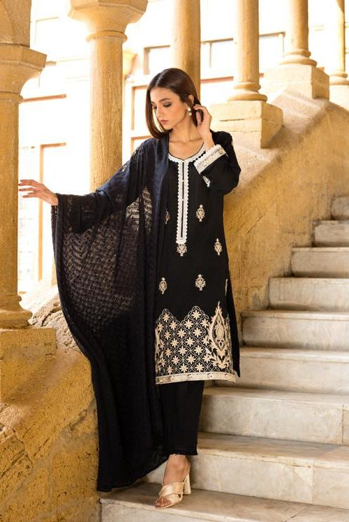 Black & White Embroidered Lawn Salwar Kameez by Regalia