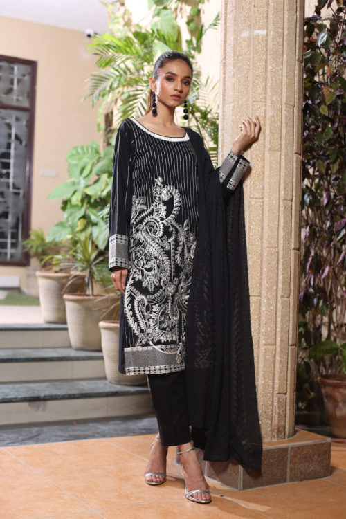 Black and White Embroidered Salwar Kameez by ZS Textiles HOT
