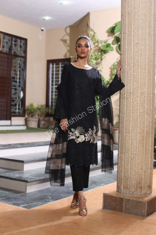 Black and White Embroidered Salwar Kameez by ZS Textiles