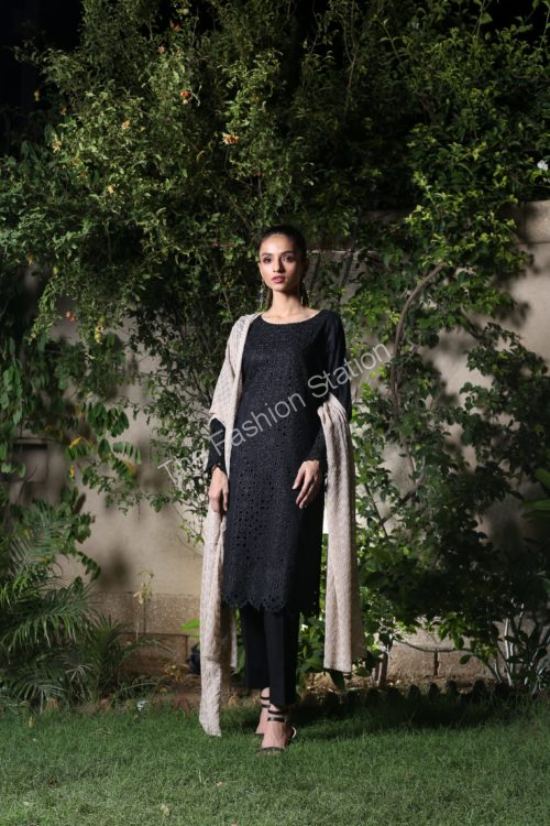 *On Sale* Black and White Embroidered Salwar Kameez by ZS Textiles RESTOCKED Black and White Embroidered Salwar Kameez by ZS Textiles