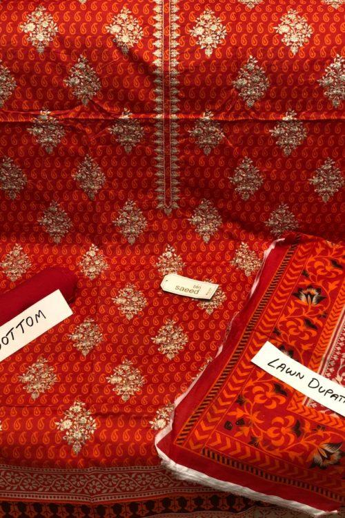 Bin Saeed Lawn Embroidered Salwar Kameez HOT