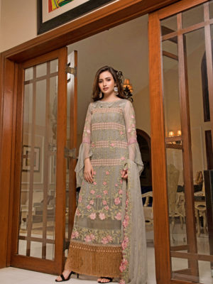 Grey Green Indian Pakistani Style Salwar Kameez – Sobia Style