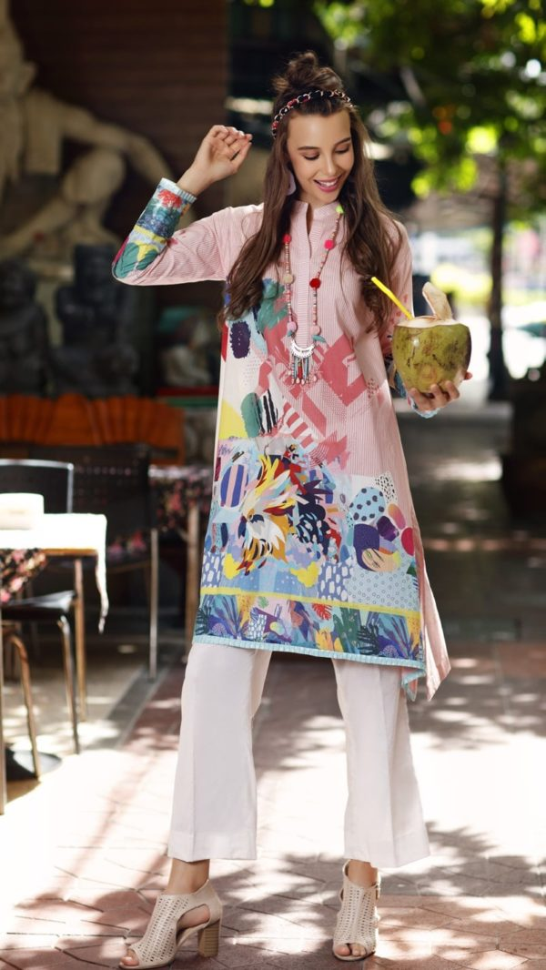 Gul Ahmed Yolo Kurti Cambric Collection 2019 SCN 100