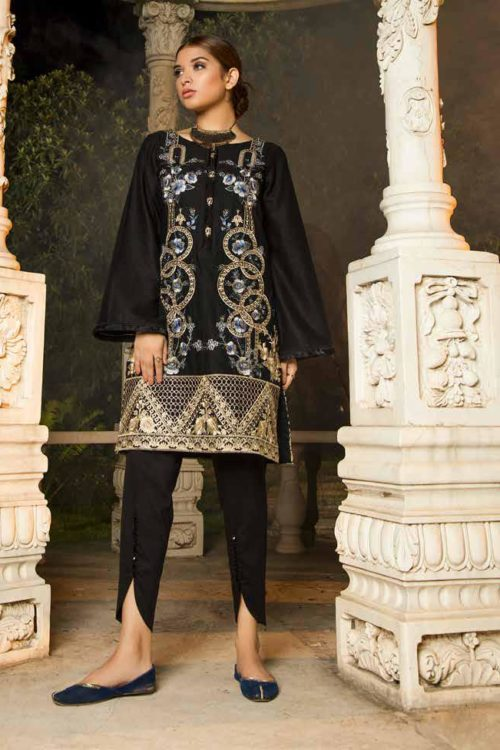 Muzayyan by Adan's Libas Black Kurti Collection Design 8