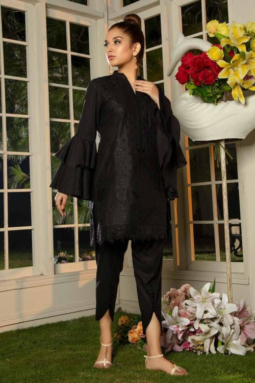 Muzayyan by Adan's Libas Black Kurti Collection Design 10