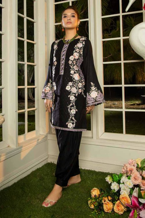 Muzayyan by Adan's Libas Black Kurti Collection Design 12