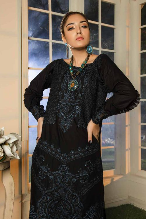 Muzayyan by Adan's Libas Black Kurti Collection Design 13