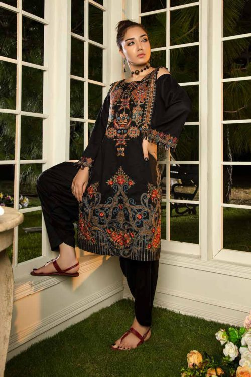 Muzayyan by Adan's Libas Black Kurti Collection Design 15