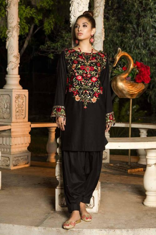 Muzayyan by Adan's Libas Black Kurti Collection Design 16