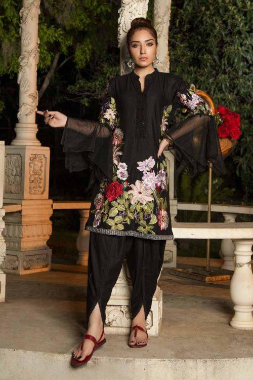 Muzayyan by Adan's Libas Black Kurti Collection Design 17