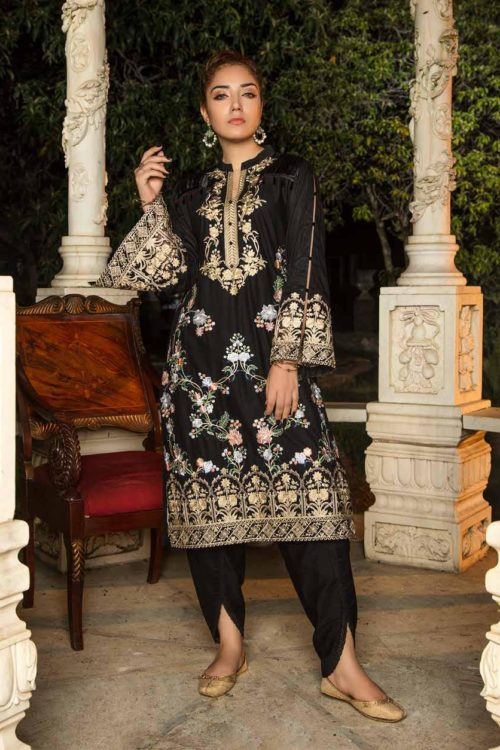 Muzayyan by Adan's Libas Black Kurti Collection Design 18