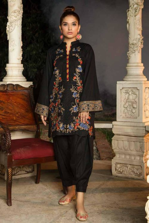 Muzayyan by Adan's Libas Black Kurti Collection Design 19