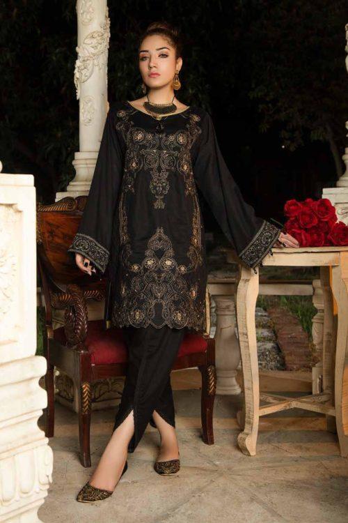 Muzayyan by Adan's Libas Black Kurti Collection Design 20
