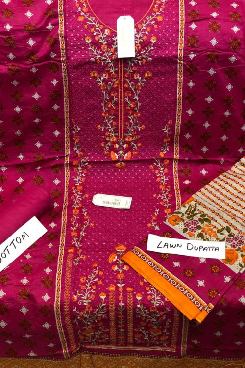 Bin Saeed Lawn Embroidered Salwar Kameez - Original Bin Saeed Lawn Embroidered Salwar Kameez best pakistani suits collection