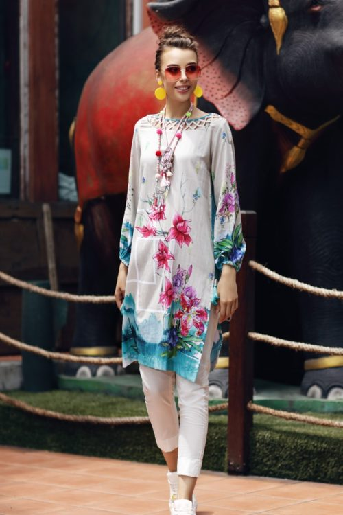 Gul Ahmed Yolo Kurti Cambric Collection 2019 SCN 98