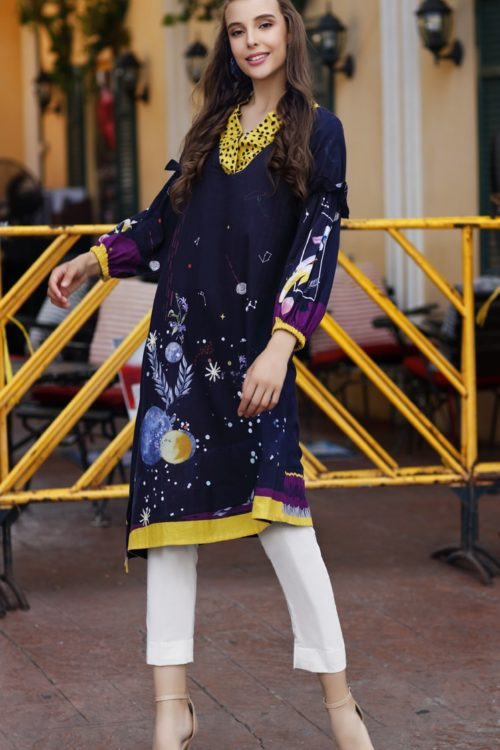 Gul Ahmed Yolo Kurti Cambric Collection 2019 SCN 105