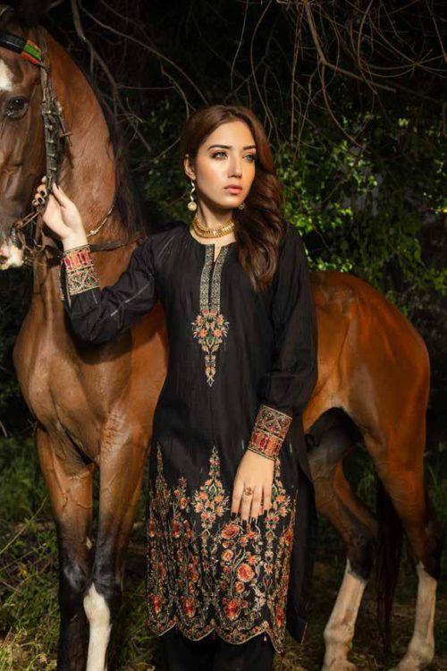 Muzayyan by Adan's Libas Black Kurti Collection Design 6
