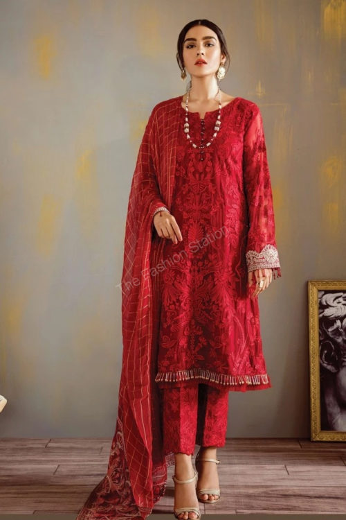 Opulent Chiffon by Iznik Design Scarlet Red RESTOCKED