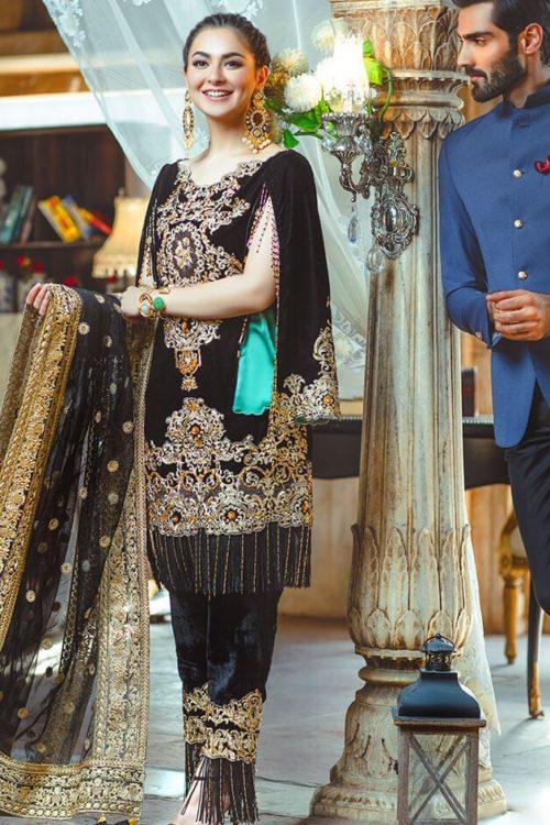 Black Velvet Embroidery Suit – Rang Rasiya Wedding Collection
