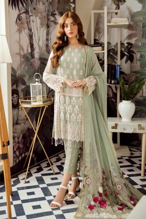 Voyage de L'amoure Pakistani Salwar Suit  |  Afrozeh | 01- Seafoam Fluorescent Voyage de L'amoure by Afrozeh - Original pakistani suits in mumbai