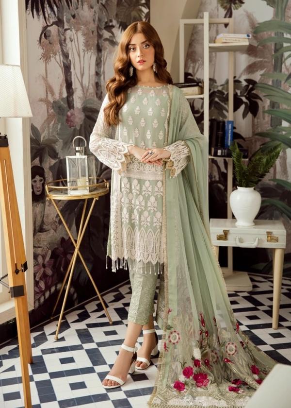 Voyage de L'amoure Pakistani Salwar Suit     Afrozeh   01- Seafoam Fluorescent