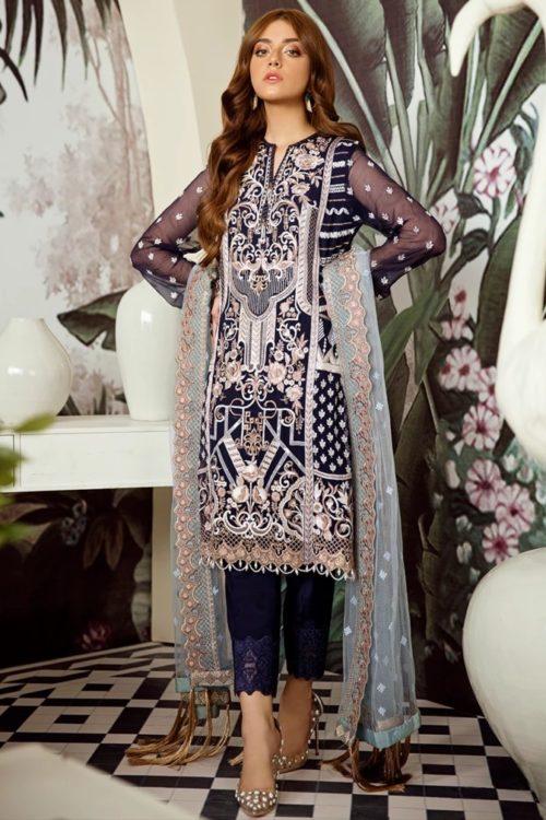 Voyage de L'amoure Pakistani Salwar Suit     Afrozeh   03- Kyanite Ribbon Voyage de L'amoure by Afrozeh - Original pakistani suits in mumbai