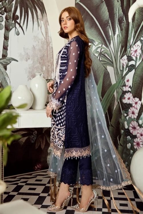 Voyage de L'amoure Pakistani Salwar Suit  |  Afrozeh | 03- Kyanite Ribbon Voyage de L'amoure by Afrozeh - Original pakistani suits in mumbai