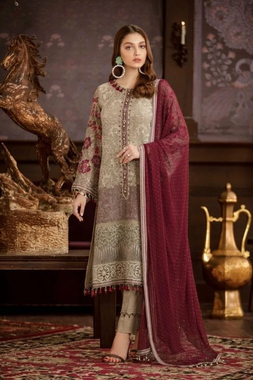 Embroidered Chiffon Salwar Kameez by Flossie  – Design Caronation Flossie Vol 5 - Original Festive