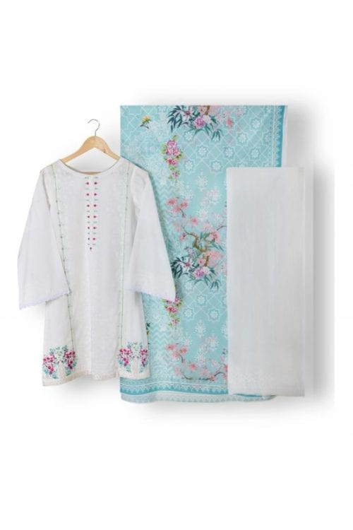Agha Noor Unstitched 2 Pc Collection  Classic White Design 666