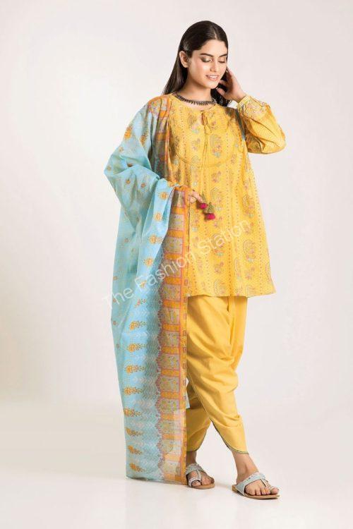 Khaadi Winter Vibe 2019 CA19504-Yellow-3Pc